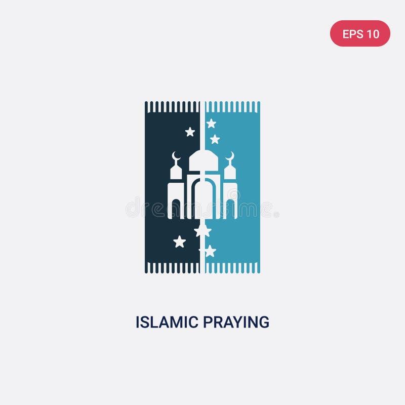 Zwei Farbislamische betende Teppich-Vektorikone vom Konzept religion-2 lokalisiertes blaues islamisches betendes Teppichvektor-Ze stock abbildung