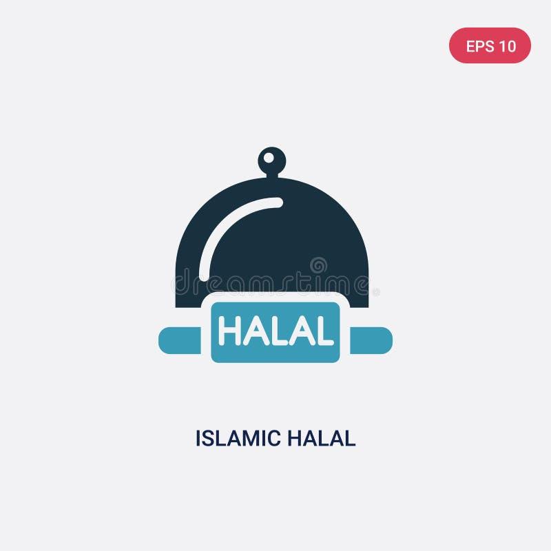 Zwei Farbislamische halal Vektorikone vom Konzept religion-2 lokalisiertes blaues islamisches halal Vektorzeichensymbol kann Gebr vektor abbildung