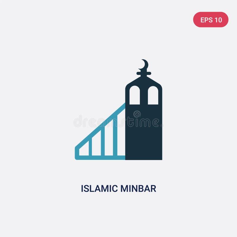 Zwei Farbislamische minbar Vektorikone vom Konzept religion-2 lokalisiertes blaues islamisches minbar Vektorzeichensymbol kann Ge stock abbildung