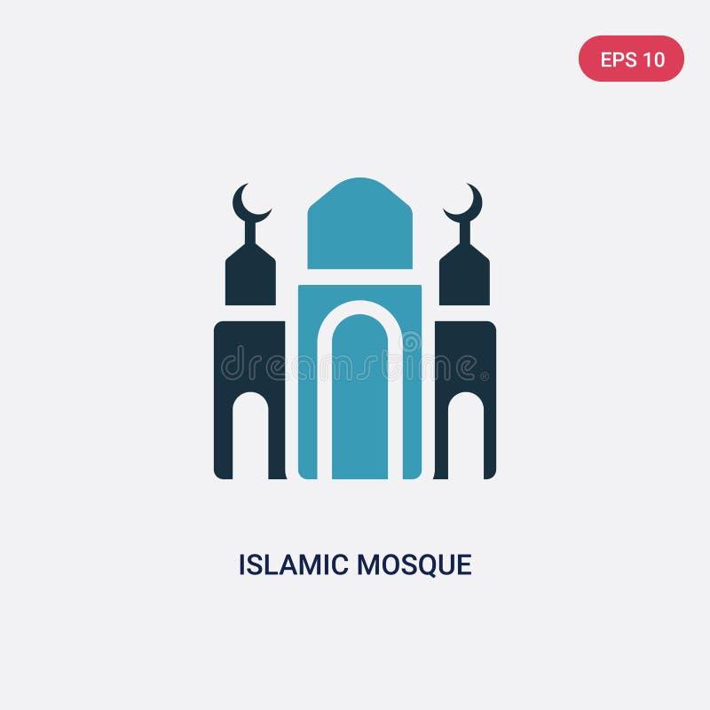 Zwei Farbislamische Moscheen-Vektorikone vom Konzept religion-2 lokalisiertes blaues islamisches Moscheenvektor-Zeichensymbol kan stock abbildung