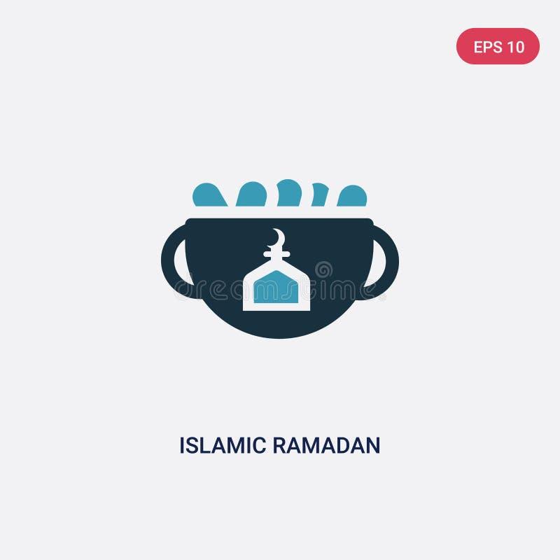 Zwei Farbislamische Ramadan-Vektorikone vom Konzept religion-2 lokalisiertes blaues islamisches Ramadan-Vektorzeichensymbol kann  stock abbildung
