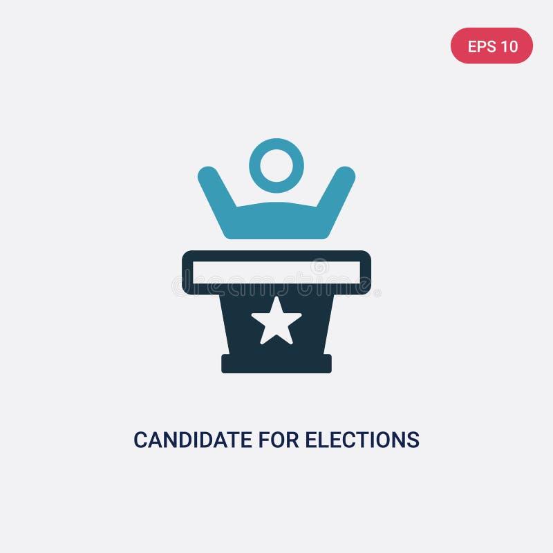 Zwei Farbkandidat für Wahlvektorikone vom politischen Konzept lokalisierter blauer Kandidat für Wahlvektor-Zeichensymbol kann lizenzfreie abbildung