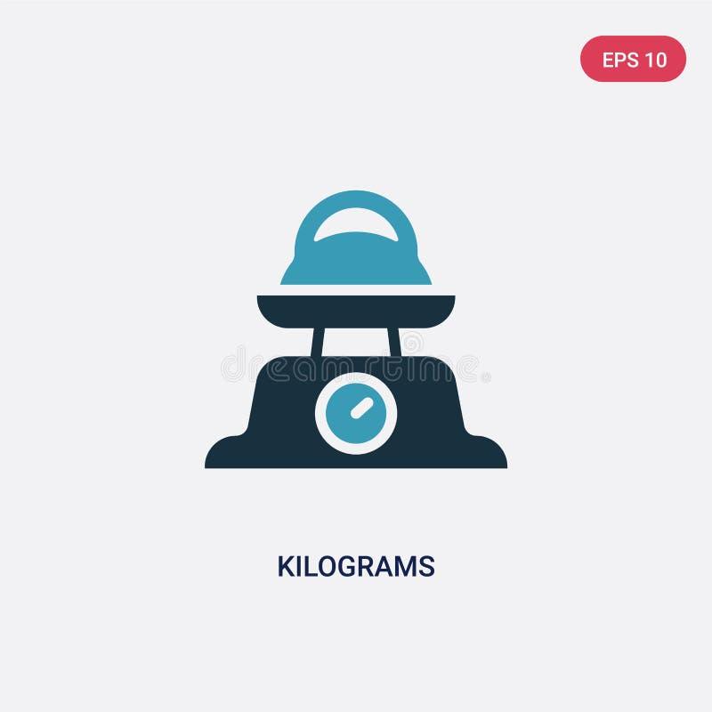 Zwei-Farbkilogramm-Vektorikone von anderem Konzept lokalisiertes blaues Kilogrammvektor-Zeichensymbol kann Gebrauch für Netz, Mob vektor abbildung