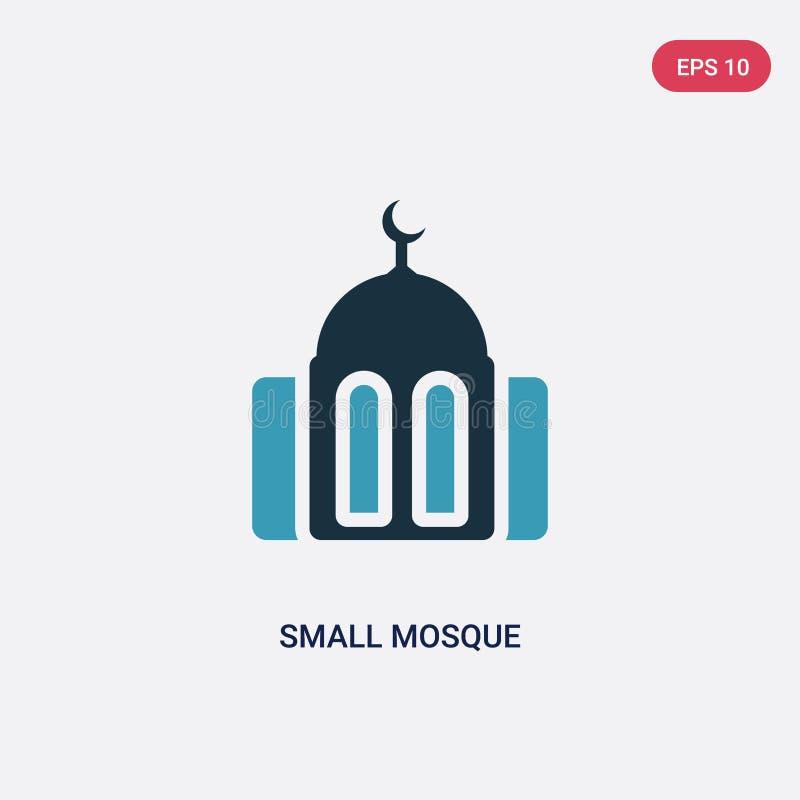 Zwei Farbkleine Moscheen-Vektorikone vom Konzept religion-2 lokalisiertes blaues kleines Moscheenvektor-Zeichensymbol kann Gebrau stock abbildung