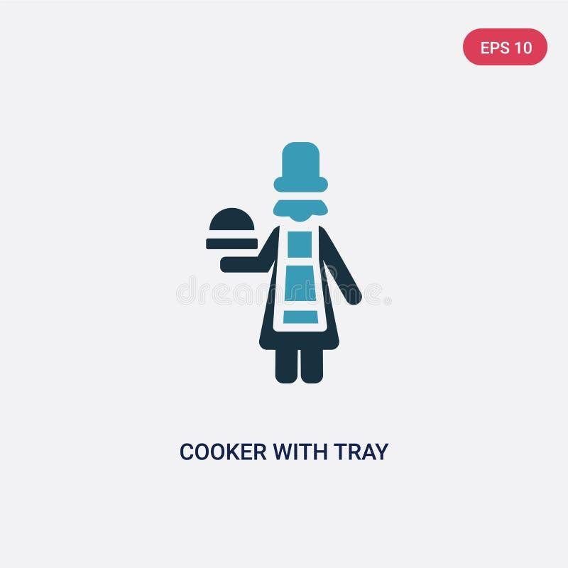 Zwei Farbkocher mit Behältervektorikone vom Leutekonzept lokalisierter blauer Kocher mit Behältervektor-Zeichensymbol kann Gebrau stock abbildung