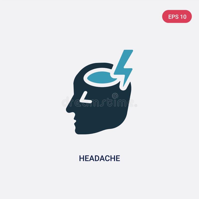 Zwei Farbkopfschmerzen-Vektorikone vom smileykonzept lokalisiertes blaues Kopfschmerzenvektor-Zeichensymbol kann Gebrauch für Net stock abbildung