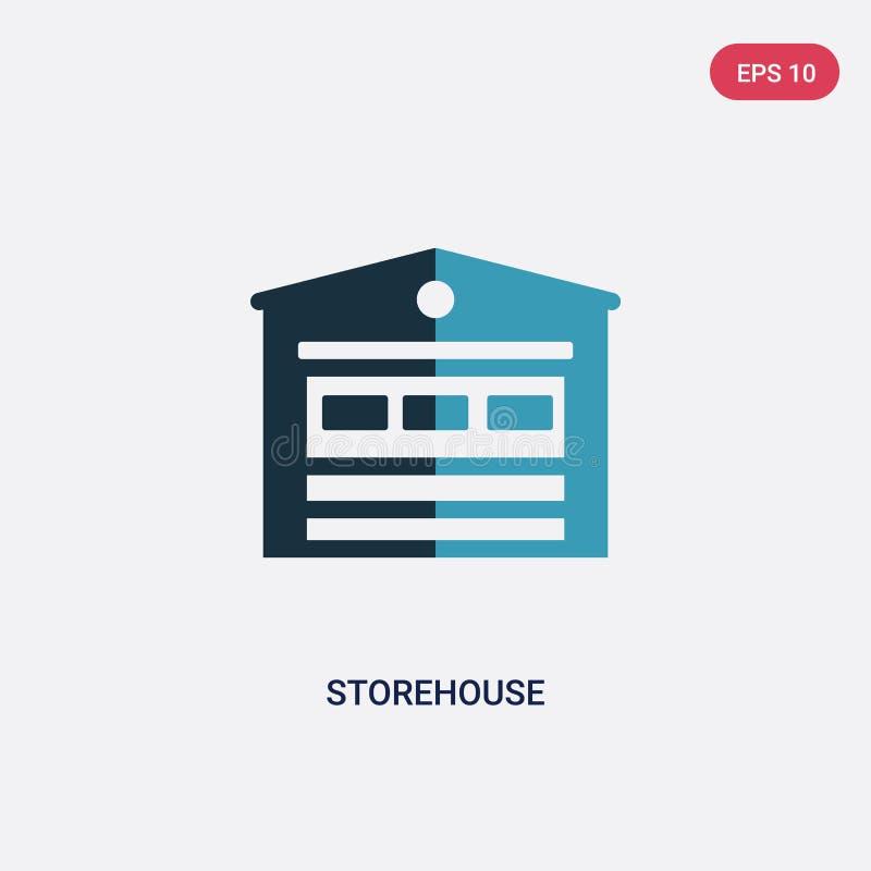 Zwei Farblagerhaus-Vektorikone vom Immobilienkonzept lokalisiertes blaues Lagerhausvektor-Zeichensymbol kann Gebrauch für Netz, M stock abbildung