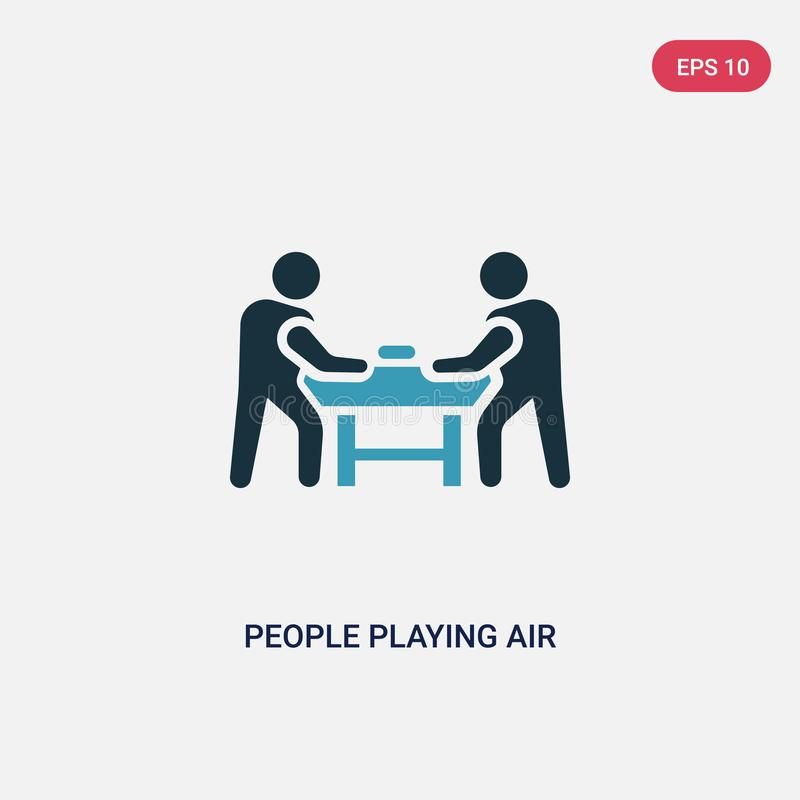 Zwei Farbleute, die Lufthockey-Vektorikone vom Unterhaltungsspielkonzept spielen lokalisierte blaue Leute, die Lufthockeyvektor s lizenzfreie abbildung