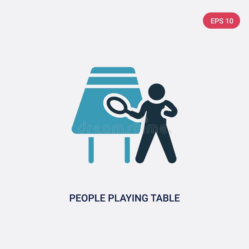 Zwei Farbleute, die Tischtennis-Vektorikone vom Unterhaltungsspielkonzept spielen lokalisierte blaue Leute, die Tischtennis spiel vektor abbildung