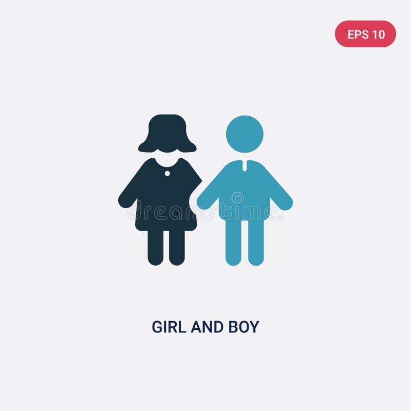 Zwei Farbmädchen- und -jungenvektorikone vom Leutekonzept lokalisiertes blaues Mädchen- und Jungenvektorzeichensymbol kann Gebrau vektor abbildung