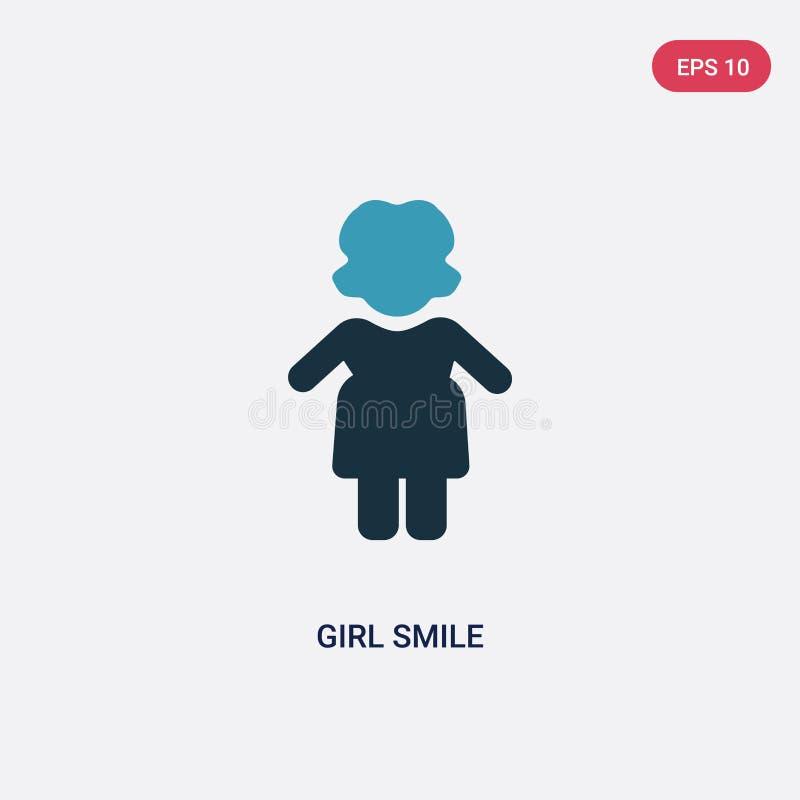 Zwei Farbmädchenlächeln-Vektorikone vom Leutekonzept lokalisiertes blaues Mädchenlächelnvektor-Zeichensymbol kann der Gebrauch fü stock abbildung
