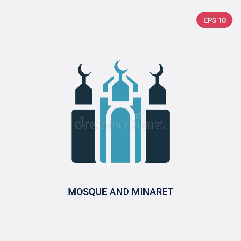 Zwei Farbmoscheen- und -minarettvektorikone vom Konzept religion-2 lokalisiertes blaues Moscheen- und Minarettvektorzeichensymbol stock abbildung