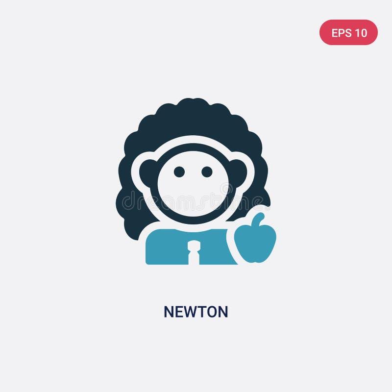 Zwei Farbnewton-Vektorikone vom Wissenschaftskonzept lokalisiertes blaues Newtonvektor-Zeichensymbol kann Gebrauch für Netz, Mobi stock abbildung