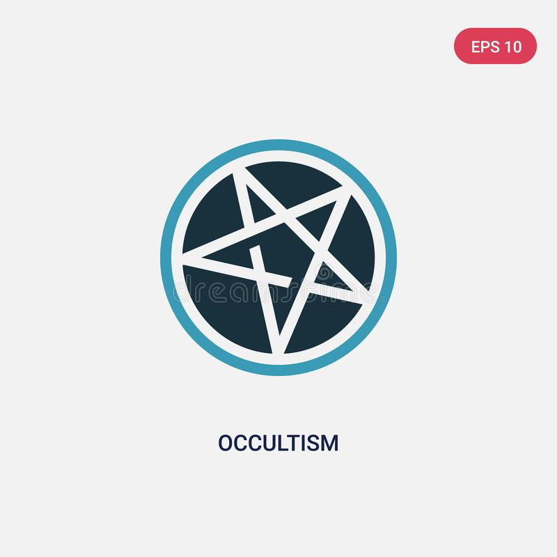 Zwei Farbokkultismus-Vektorikone vom Religionskonzept lokalisiertes blaues Okkultismusvektor-Zeichensymbol kann der Gebrauch für  lizenzfreie abbildung