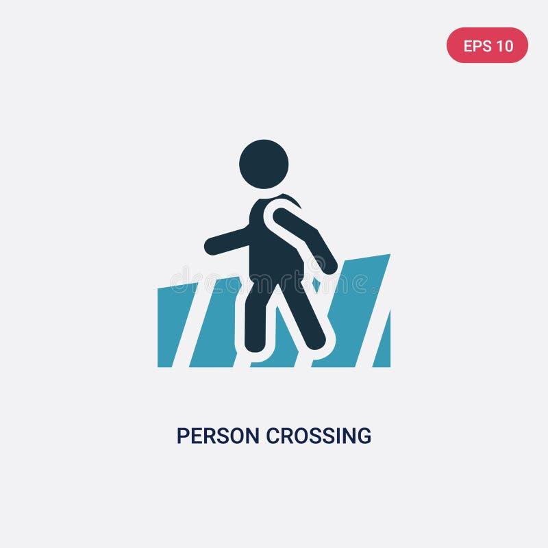 Zwei Farbpersonen-Überfahrtstraße auf Zebrastreifenvektorikone vom Leutekonzept lokalisierte blaue Personenüberfahrtstraße auf Ze lizenzfreie abbildung