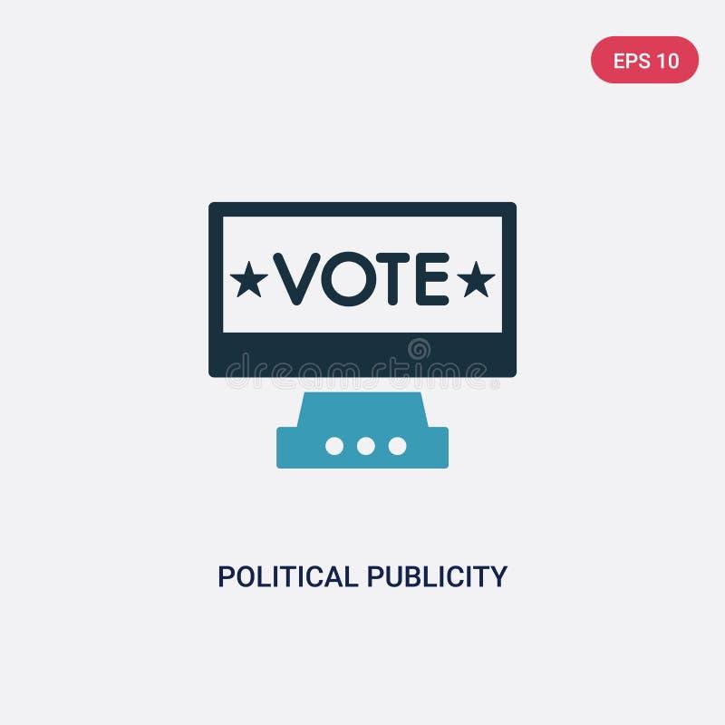 Zwei Farbpolitische Werbung auf Bildschirmvektorikone vom politischen Konzept lokalisierte blaue politische Werbung auf Monitor stock abbildung
