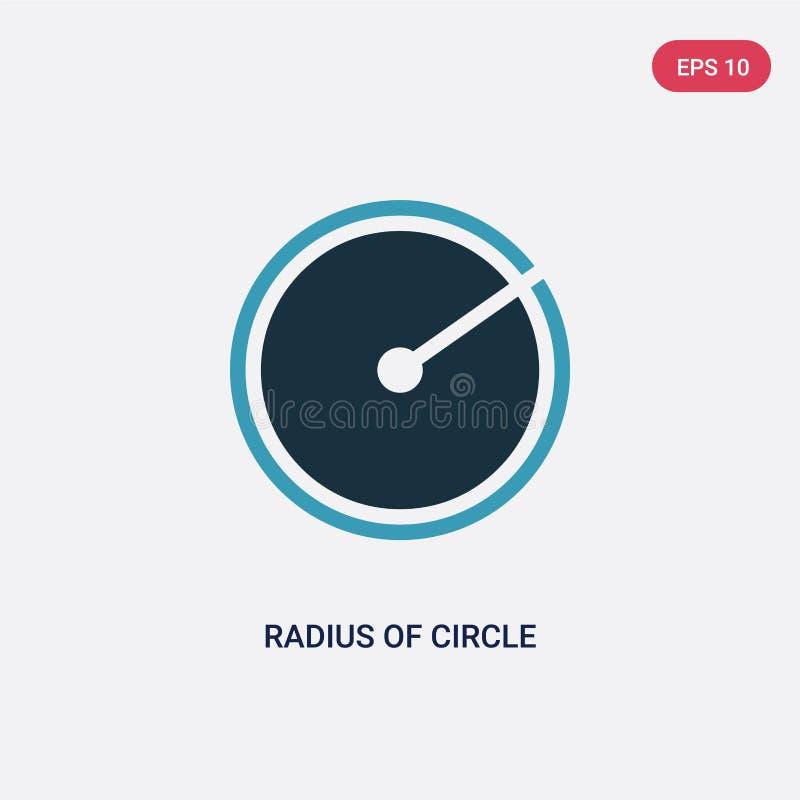 Zwei Farbradius der Kreisvektorikone vom Formkonzept lokalisierter blauer Radius des Kreisvektor-Zeichensymbols kann Gebrauch für vektor abbildung