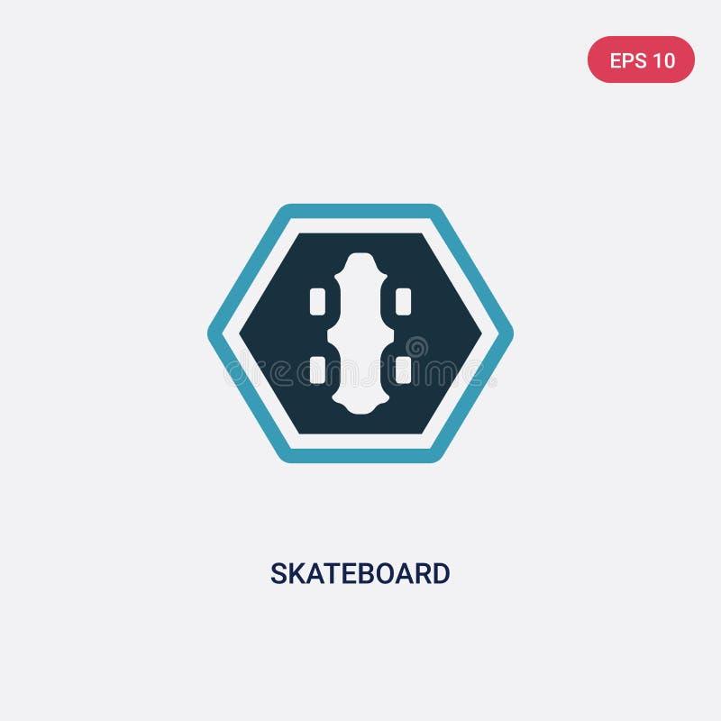 Zwei Farbskateboard-Vektorikone vom Zeichenkonzept lokalisiertes blaues Skateboardvektor-Zeichensymbol kann der Gebrauch für Netz lizenzfreie abbildung