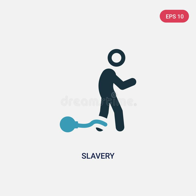 Zwei Farbsklaverei-Vektorikone vom politischen Konzept lokalisiertes blaues Sklavereivektor-Zeichensymbol kann Gebrauch für Netz, lizenzfreie abbildung