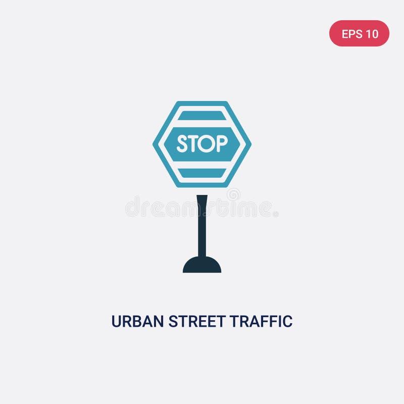 Zwei Farbstädtische Straßenverkehrs-Vektorikone vom Zeichenkonzept lokalisiertes blaues städtisches Straßenverkehrsvektor-Zeichen lizenzfreie abbildung