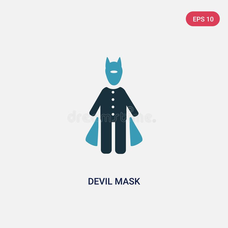 Zwei Farbteufelmasken-Vektorikone vom Leutekonzept lokalisiertes Maskenvektor-Zeichensymbol des blauen Teufels kann der Gebrauch  stock abbildung