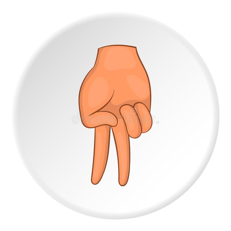 Zwei Finger gestikulieren unten Ikone, Karikaturart lizenzfreie abbildung