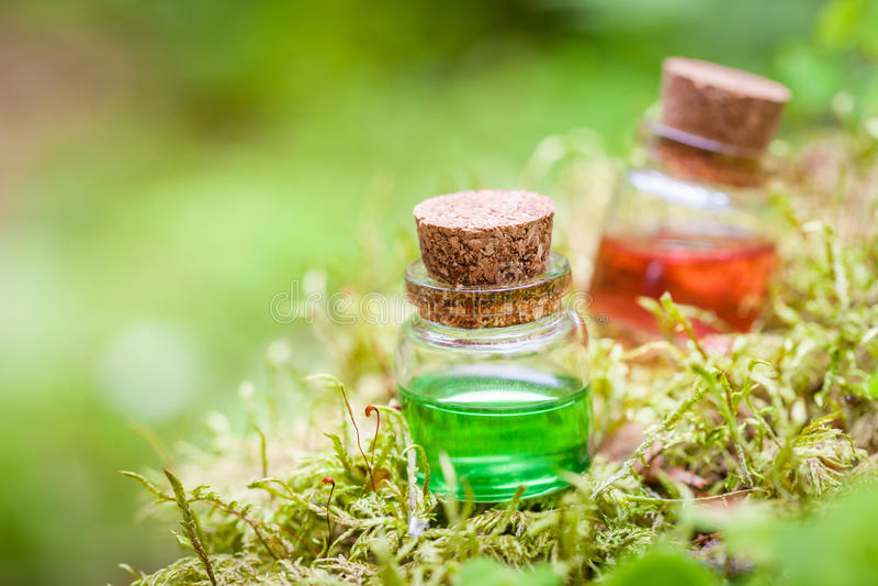 Zwei Flaschen ätherisches Öl oder Zaubertrank auf Moos stockfoto
