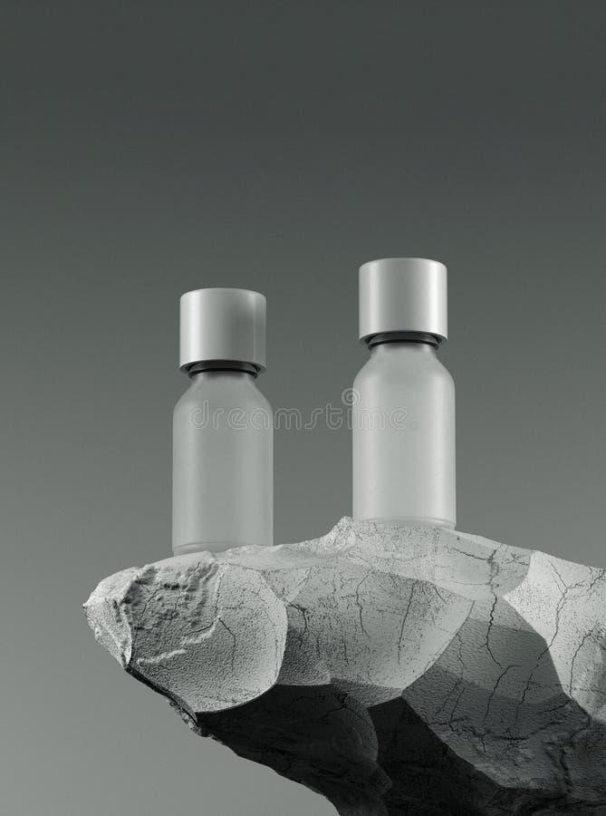 Zwei Flaschen wesentliches Massageöl auf Stein - Schönheitsbehandlung Minimales weißes Entwurfsverpacken Schein oben 3d vektor abbildung