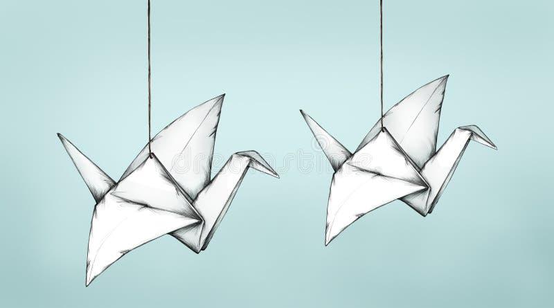 Zwei fliegende Papierkräne lizenzfreie abbildung