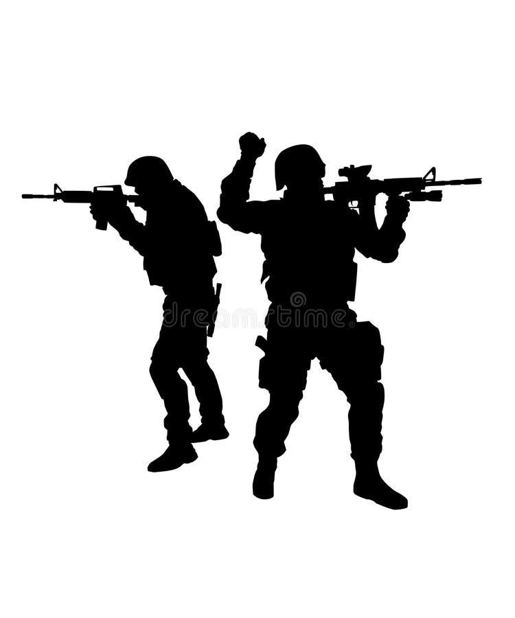 Zwei FLIEGENKLATSCHE-Kämpfer, die Waffenvektorschattenbild zielen vektor abbildung