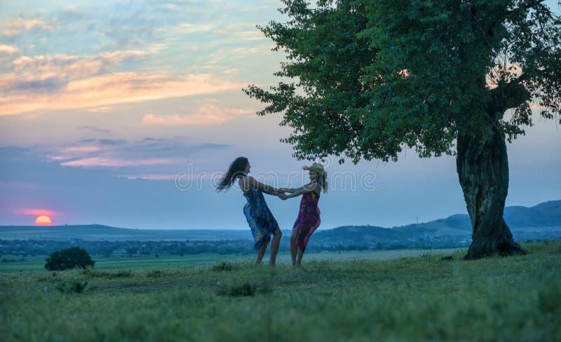 Zwei Frauen, die auf das Gras bei Sonnenuntergang tanzen stockfotos