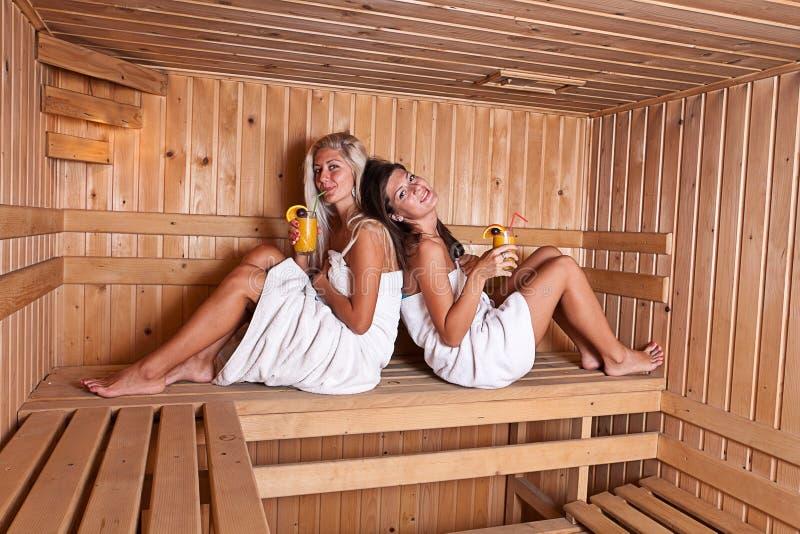 zwei frauen die eine hei e sauna genie en lizenzfreies stockfoto bild 21679515. Black Bedroom Furniture Sets. Home Design Ideas