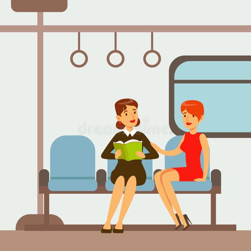 Zwei Frauen, die im Metro-Schienenfahrzeug, Teil Leute nehmen unterschiedlichen Transport sitzen, schreibt Reihe Karikatur-Szenen vektor abbildung