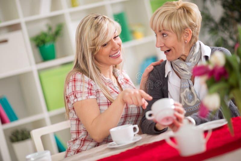 Zwei Frauen, die Kaffee sprechen und trinken lizenzfreie stockfotografie