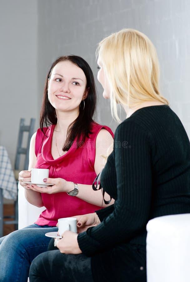 Zwei Frauen, die Kaffee und die Unterhaltung trinken stockbild