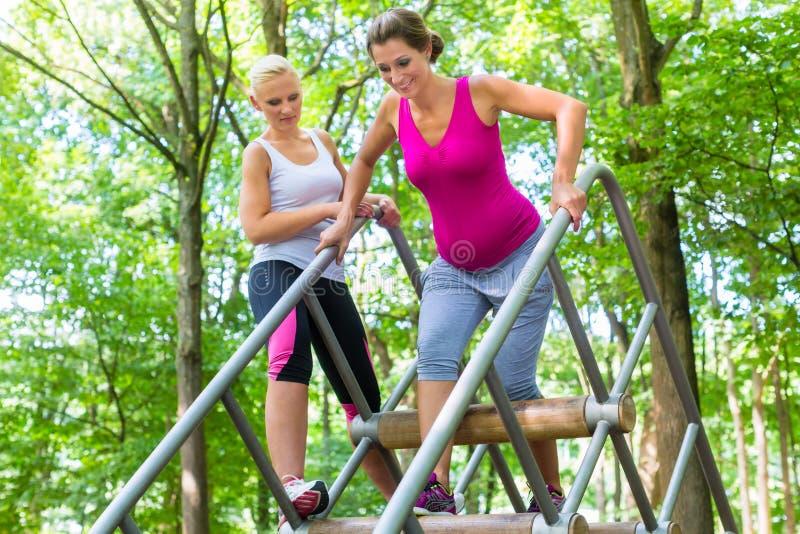 Zwei Frauen, eine schwanger, am Eignungssport in kletterndem Park lizenzfreie stockfotografie