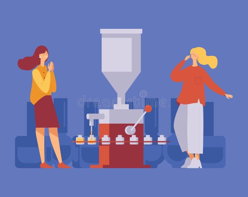 Zwei Frauen freuen sich, wenn sie die Nagellack-Füllmaschine in Betrieb nehmen Concept Illustration mit modernen Schriftzeichen i stock abbildung