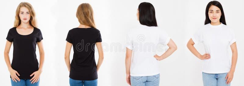 Zwei Frauen, Mädchen mit dem leeren T-Shirt lokalisiert, Collagenkaukasier und asiatische Frau im T-Shirt, im blak und im weißen  stockfotos
