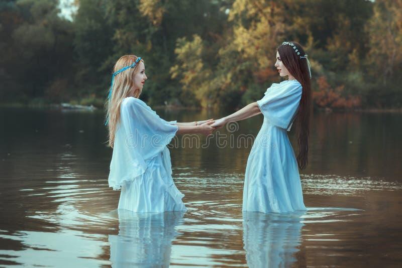 Zwei Frauenhändchenhalten stockfotos