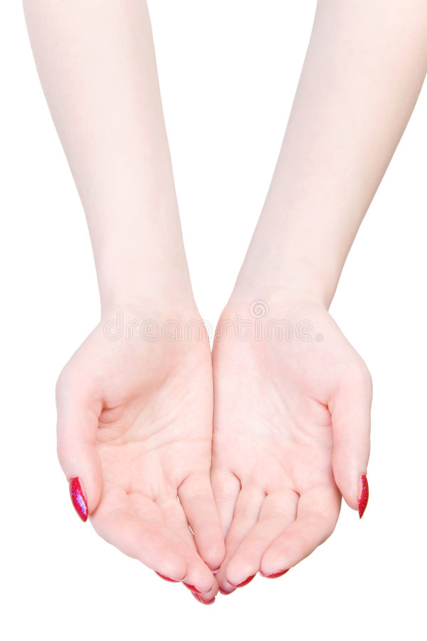 Zwei Frauenhände, wenn Haltung ausgedehnt wird stockbild