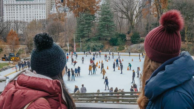 Zwei Freunde betrachten über der Eisbahn Central Park an einem Wintertag stockbild