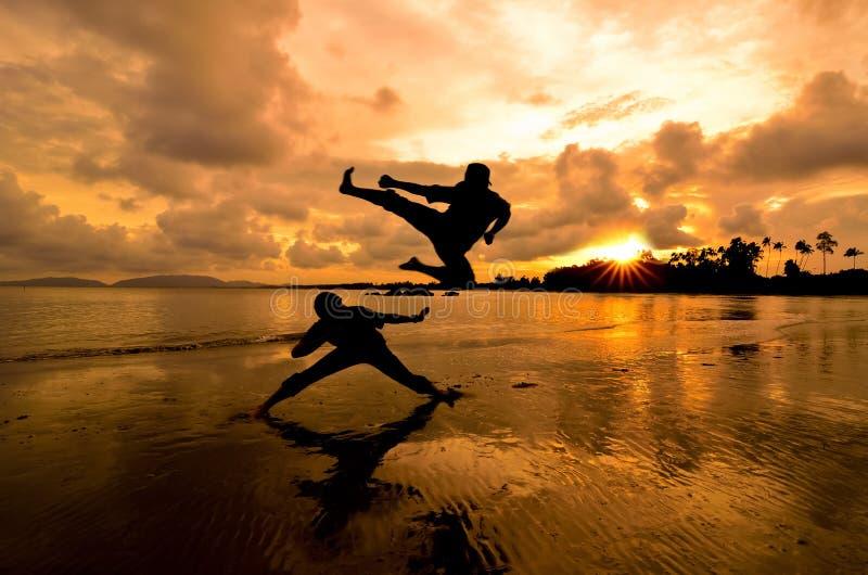 Kämpfen am Sonnenuntergang stockfotos