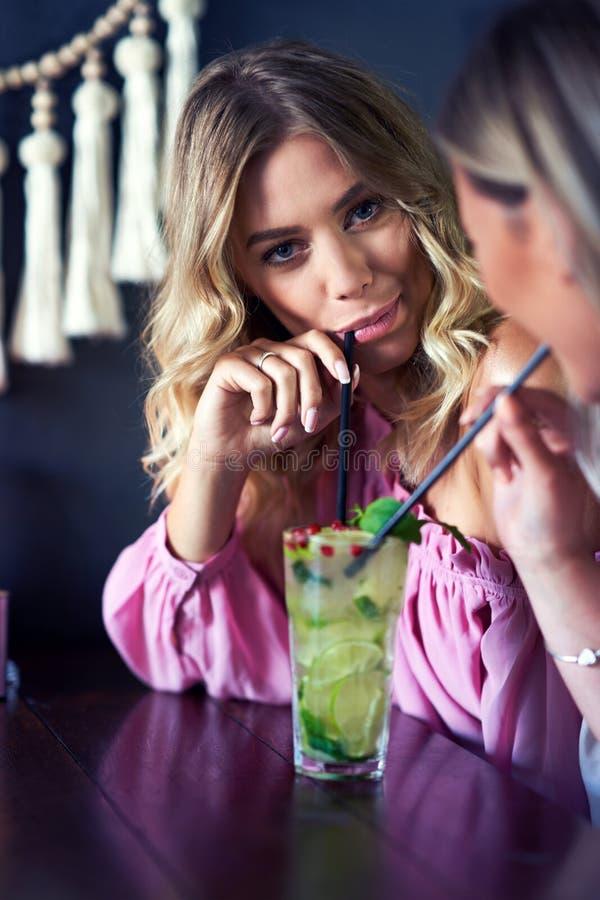 Zwei Freundinnen, die das Mittagessen im Restaurant essen stockbilder