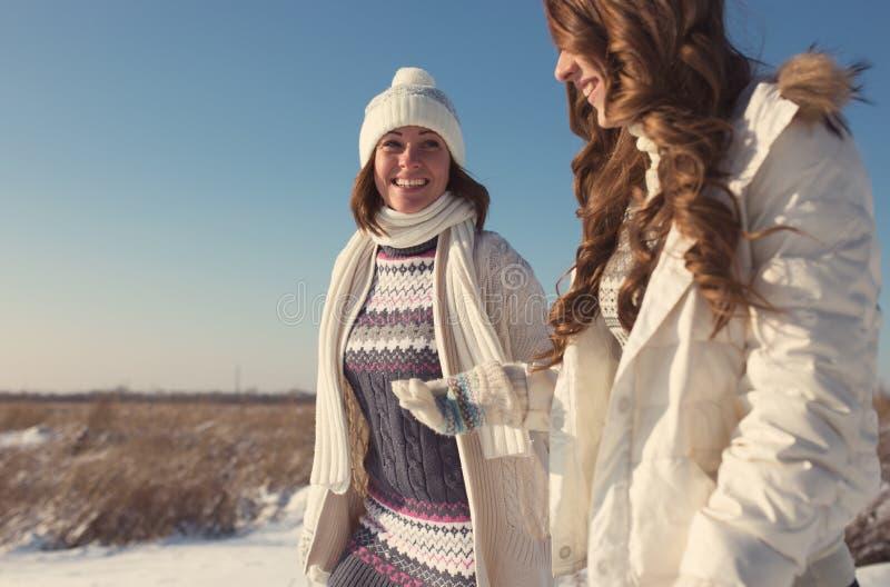 Zwei Freundinnen haben Spaß am schönen Wintertag stockfotografie