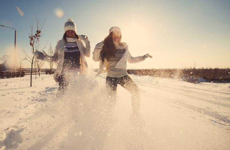 Zwei Freundinnen haben Spaß am Wintertag stockbild