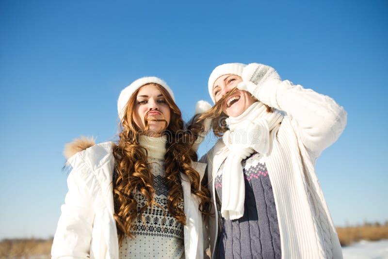 Zwei Freundinnen haben Spaß am Wintertag stockfotos