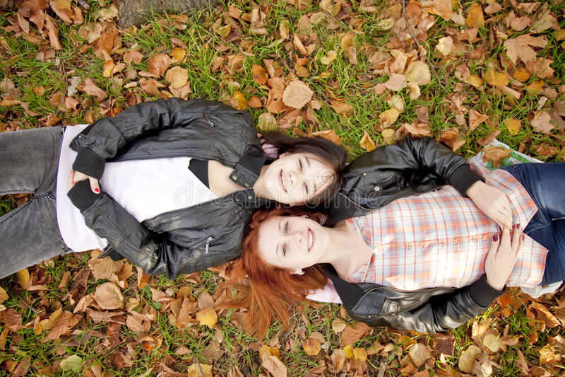 Zwei Freundinnen am Herbstpark. stockbild
