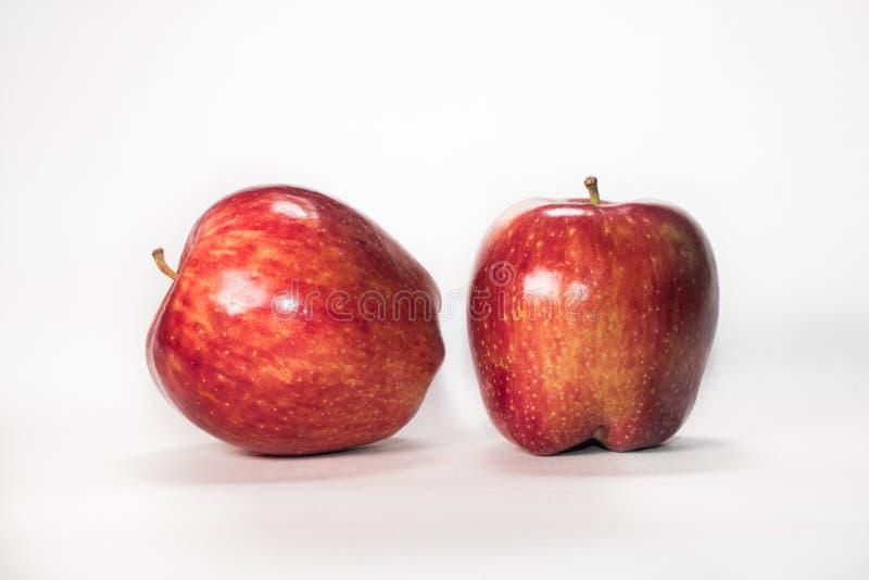 Zwei frische rote Äpfel auf einem weißen Hintergrund stockfotografie