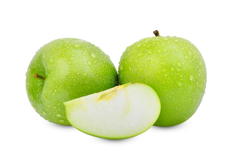 Zwei ganz und Scheibe des grünen Apfel- oder Granny- Smithapfels lizenzfreie stockfotos