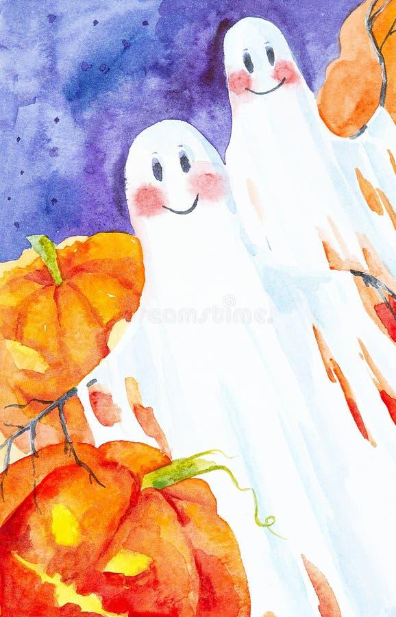 Zwei Geister fliegen unter den Kürbisen auf Halloween Dekoratives Bild einer Flugwesenschwalbe ein Blatt Papier in seinem Schnabe vektor abbildung